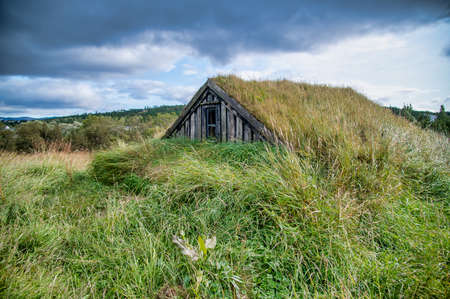 Hidden wooden homes under the grass, cloudy sky in the background. Banque d'images