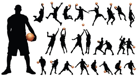 basketball game: Basketball players vector