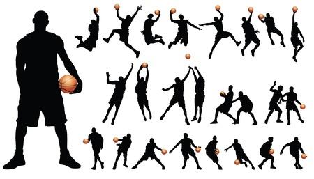 Vector de jugadores de baloncesto Ilustración de vector