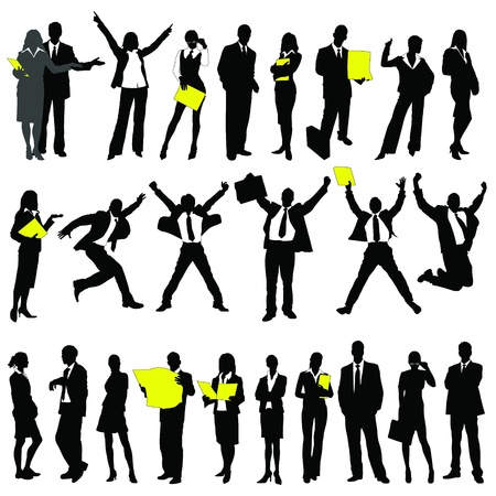 successful: twenty-five high quality vector silhouette of business people Illustration