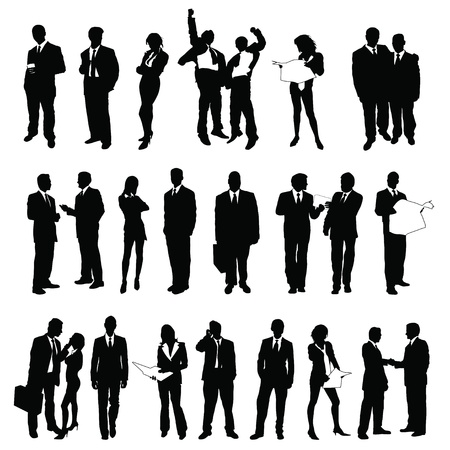 twenty-five high quality vector silhouette of business people Stock Vector - 10212799