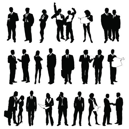 vijfentwintig hoge kwaliteit vector silhouet van de mensen uit het bedrijfsleven