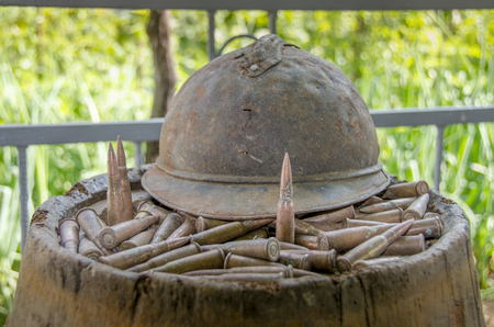 French Helmet and Bullets from World War 1 Stock Photo