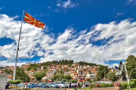 Macedonian flag with Ohrid city, Macedonia