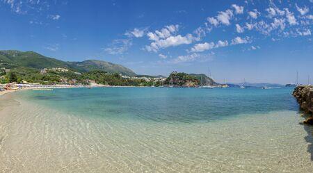 Panorama - Summer scene - beach Valtos in Parga, Greece - Ionian Sea