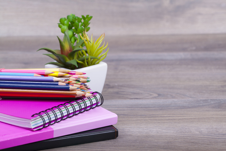 School Supplies on a dark background and place for text, selective focus and small depth of field