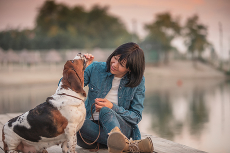 Basset hound dog with owner spend a day next to the river playing and having fun - Image