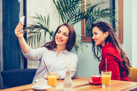 Two female friends having fun in cafe and taking selfie with smartphone. - Image 写真素材