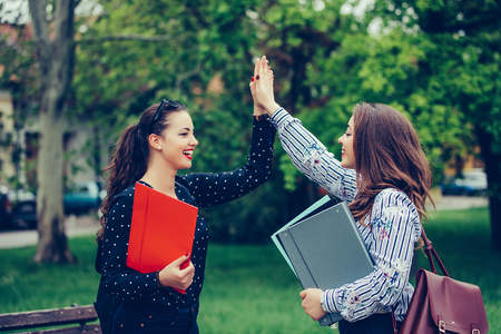 Two happy female friends, students are giving high five after successfully learning - Image