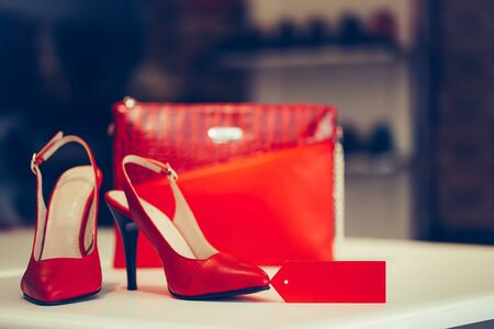 Close up shot of red elegant high heel women shoes, with woman purse. 免版税图像