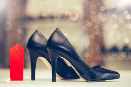 Stylish classic women black leather shoes with high heels.