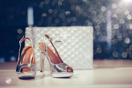 Close up shot of silver elegant high heel women shoes or sandals , with woman purse. Stockfoto