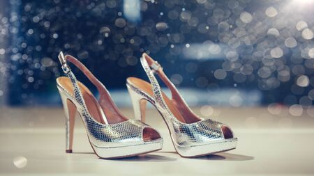 Fashion shoes or sandals new collection advertising promo banner, online shopping social media with beautiful high heels.