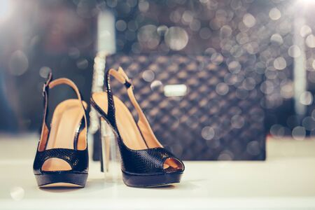 Close up shot of black elegant high heel women shoes or sandals , with woman purse.  Copy space.