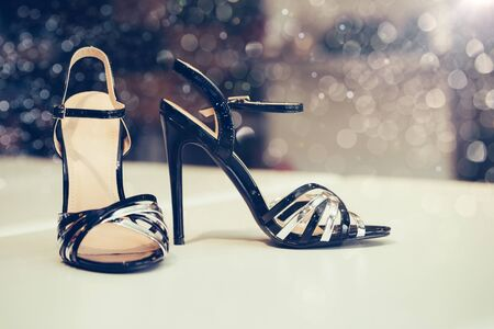 Fashion sandals new collection advertising promo banner, online shopping social media with beautiful high heels.