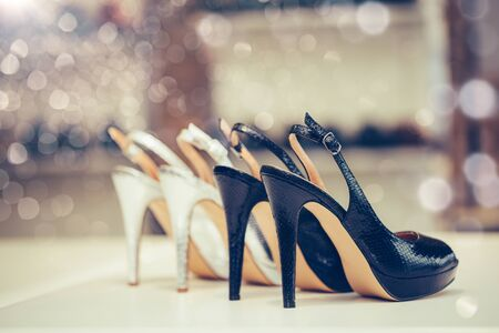 Fashion shoes new collection advertising promo banner, online shopping social media with beautiful high heels. Stockfoto