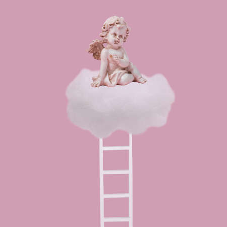 Creative idea made with angel sitting on white cloud and ladder on pastel pink background. Minimal concept of  love, dreams, faith, future, success and opportunity. Stock Photo