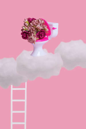 Creative funny idea  made of toilet bowl with many colorful flowers white clouds and ladder on pastel pink background. Minimal humorous concept of surprises and gifts. Stock Photo