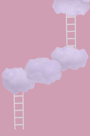 Creative idea with white clouds and ladders on light pink background. Minimal concept of growth, future, success, game, strategy and development.