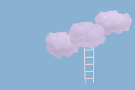 Creative idea with white clouds and ladder on bright blue background. Minimal concept of growth, future, success and development. Stock Photo