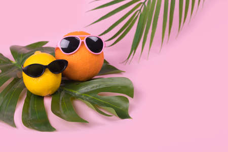 Orange and lemon fruit hipster in sunglasses with tropical leaves on pink background. Minimal travel concept, summer stylish tropical fruit. Creative art fashionable vacation concept. Summertime color mood.Fashion and trend. Stock Photo
