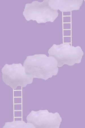 Creative idea with white clouds and ladders on trendy pastel background. Minimal concept of growth, future, success, game, strategy and development.