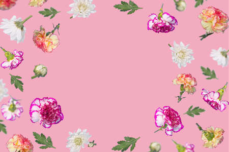 Beautiful spring or summer layout with many different  colorful flying flowers and leaves on pastel pink background, trendy floral frame. Creative Minimal concept of nature, Birthday, Mother's, Valentines, Women's, Wedding Day.