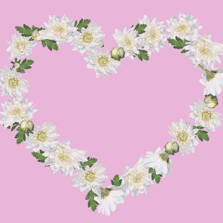 Beautiful heart shape made with white flowers and leaves arrangement on pastel pink background. Creative Minimal  concept of Valentines, Women's, Wedding Day.Romantic floral visual trend. Copy space