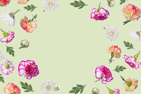 Beautiful spring or summer layout with many different  colorful flying flowers and leaves on a light green background, trendy floral frame. Creative Minimal concept of nature, Birthday, Mother's, Valentines, Women's, Wedding Day.