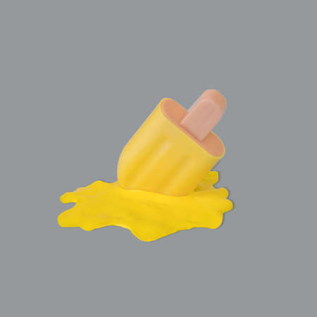 Yellow stick ice cream melting on ultimate gray background. Creative idea, minimal summer concept. Banque d'images