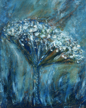 Abstract flower painting. Artistic paintings for background. Blue white color texture on grunge paper background. Hand painted floral.