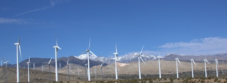White wind turbines photo