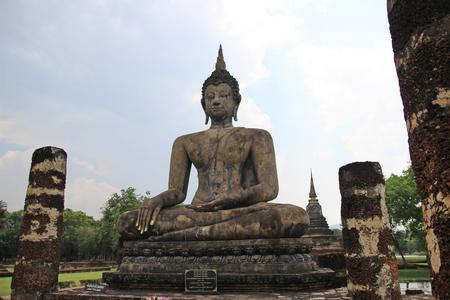 dhamma: Big Buddhist statue on sky  Stock Photo