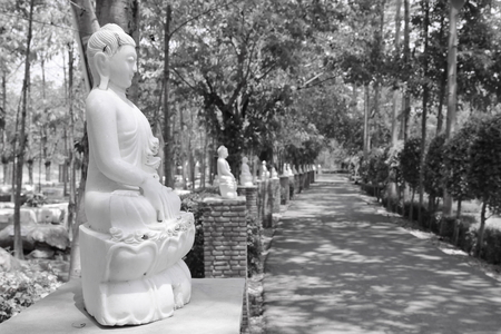 dhamma: Close up of white marble buddha statue