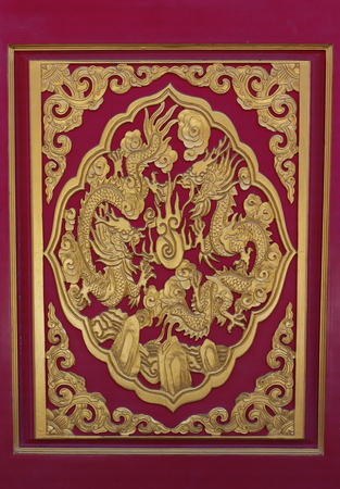 carve: red carve door in the chinese public temple Stock Photo