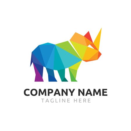 rhino polygon logo vector colorful