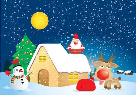 a fat Santa Claus in Xmas night Vector