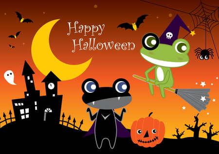 dracula castle: Halloween Cartoon Frogs Illustration