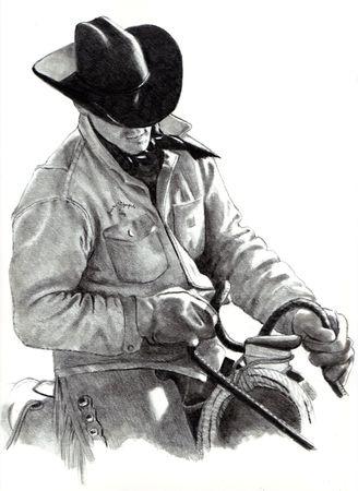 Bleistift-Zeichnungen von Cowboy in Sattel Standard-Bild