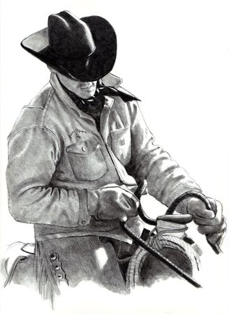 Pencil Drawing of Cowboy in Saddle Stock Photo - 8087793