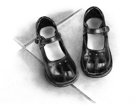 Dibujo de lápiz de pares de zapatos de negro de las niñas  Foto de archivo - 8087795