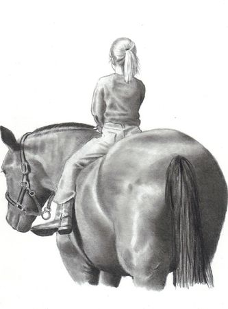Freehand Pencil Drawing of Girl on Horse photo