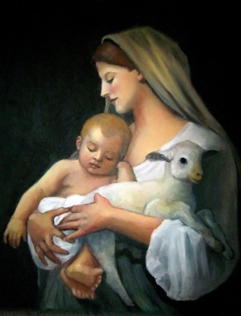 baby jesus: Freehand Copy of Painting by Bouguereau: Innocence Stock Photo