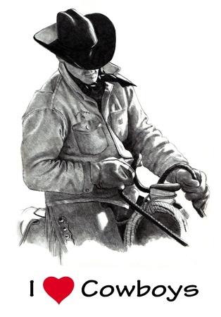 rancho: L�piz de dibujo de Cowboy en silla, sosteniendo las riendas