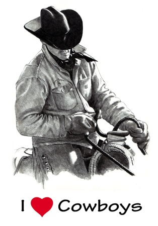 reins: Pencil Drawing of Cowboy in Saddle, Holding Reins