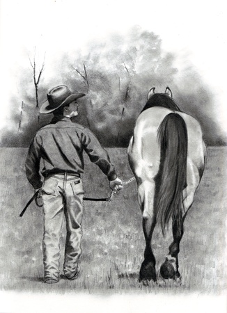Pencil Drawing of Horse With Trainer, Walking