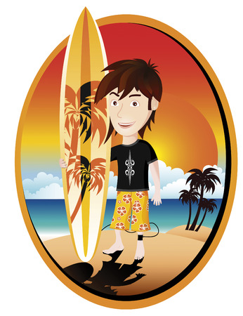 hawaiian culture: surfer Illustration