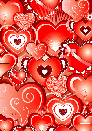 beautiful illustrated heart backround Vector