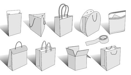 white paper bag: illustrated shopping bags and packaging items version 3