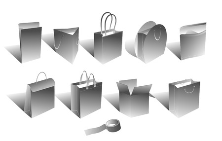 illustrated shopping bags and packaging items version 2 Vector